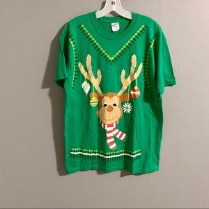Reindeer Christmas Ugly T Shirt Green Sz M